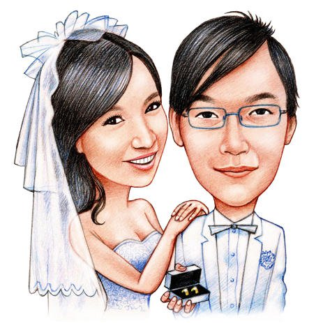 463x463 Caricature Of Bridal Pair In Colored Pencils By Artist Online