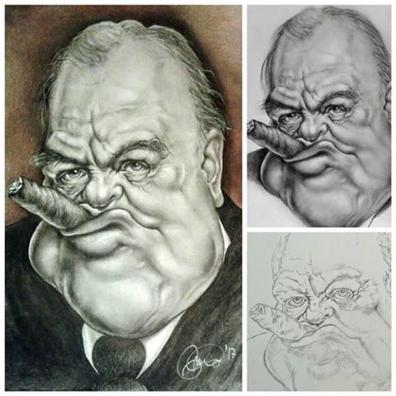 770x770 Saatchi Art Winston Churchill Caricature Drawing By Monica De Bellis