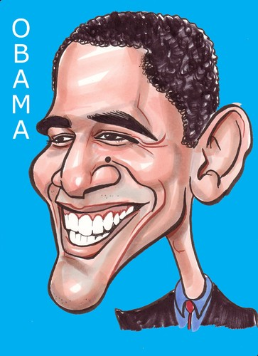 363x500 Caricature Of Barack Obama By Steve Nyman Politics Cartoon