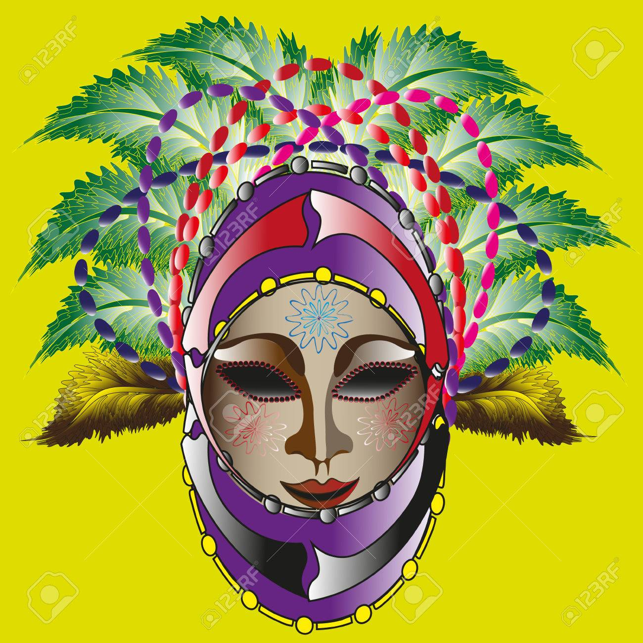 1300x1300 Drawing Bright Carnival Mask Illustration Colorful Carnival Mask