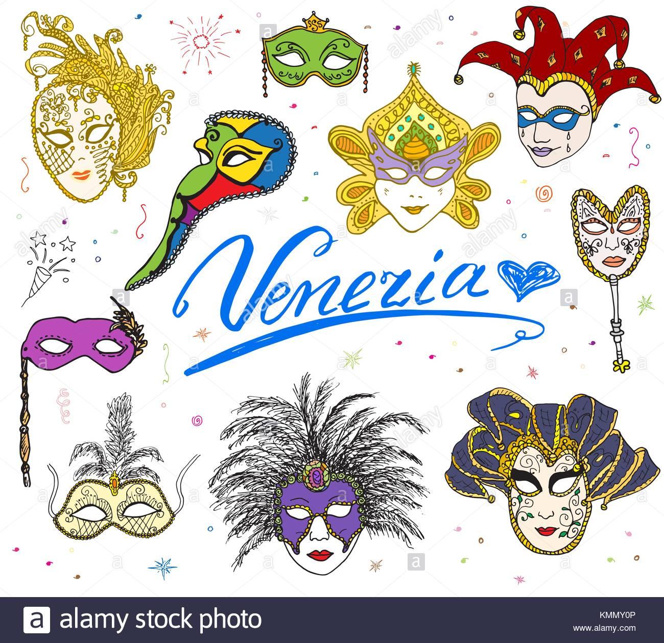 1300x1260 Venice Italy sketch carnival venetian masks Hand drawn set