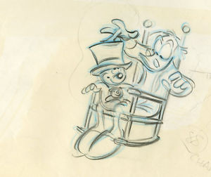 300x252 1983 Disney Mickeys Christmas Carol Scrooge Animation Cel