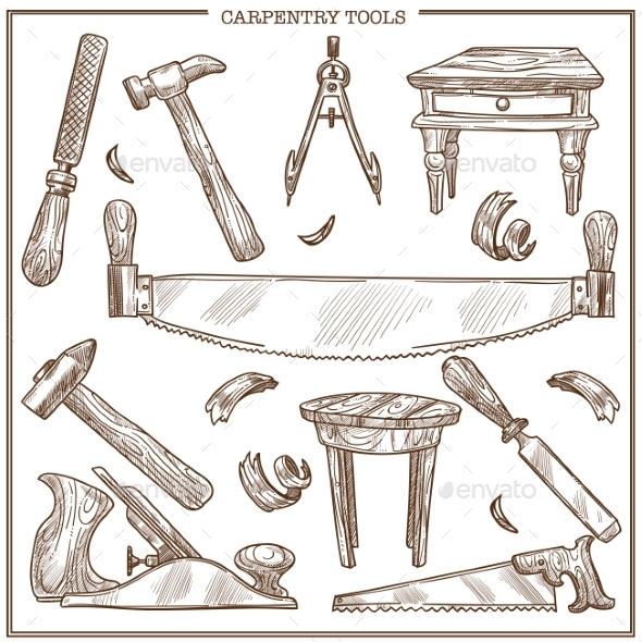 590x590 Carpentry Tools Sketch Vector Icons Set By Sonulkaster Graphicriver