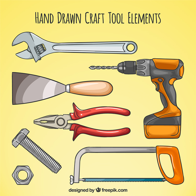 626x626 Hand Drawn Various Carpentry Tools Vector Free Download
