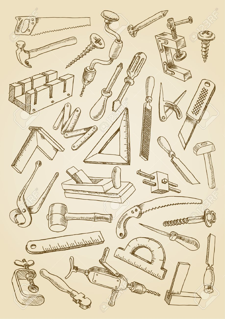 918x1300 Set Of Tools For Carpentry Work. Images In The Freehand Drawing