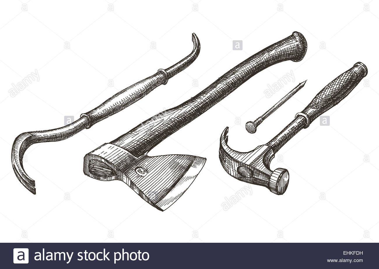 1300x922 Carpentry Tools On A White Background. Sketch Stock Photo