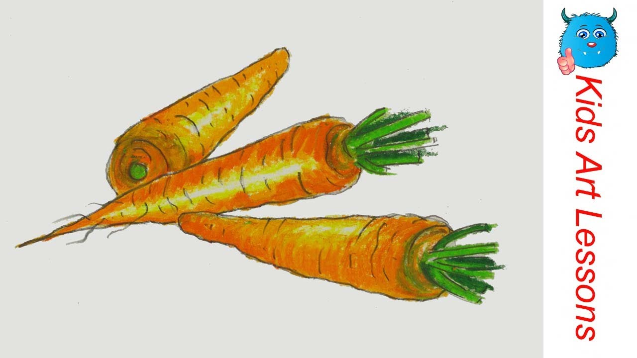 1280x720 How To Draw Carrots Easy Step By Step Vegetables Drawing In Pastel