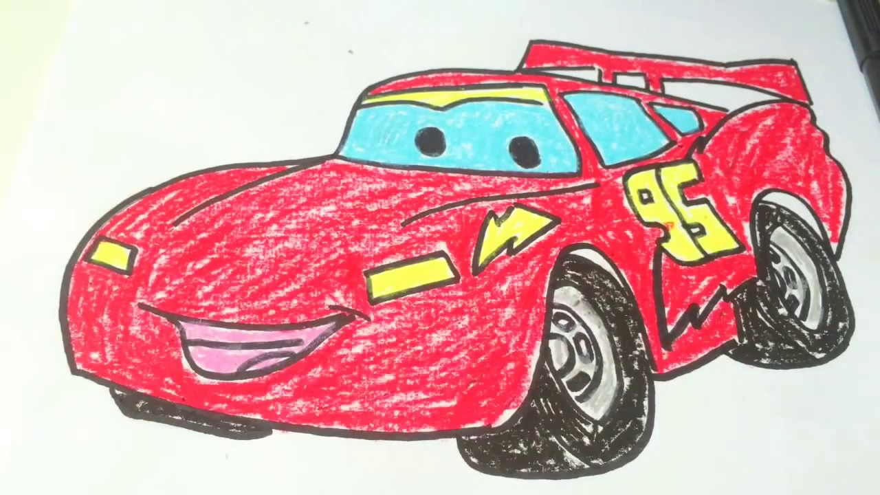 how to draw lightning mcqueen racing
