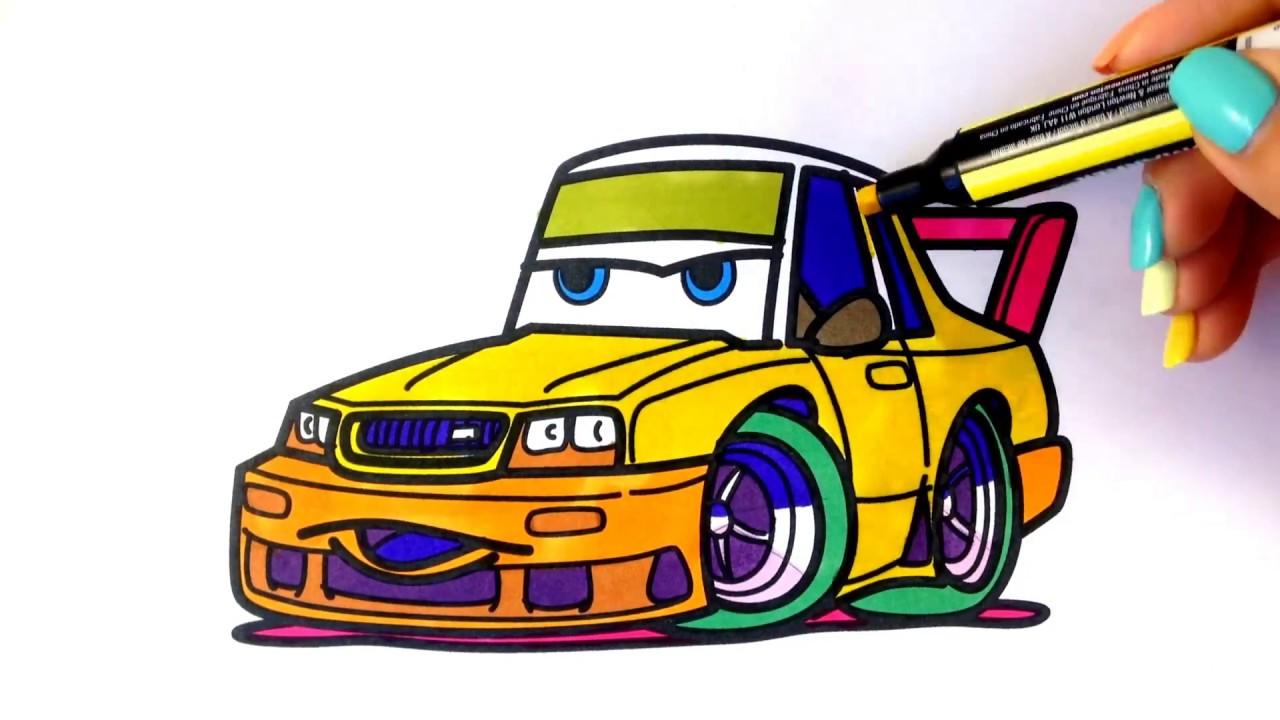1280x720 How To Draw A Car. Nissan Skyline Gt R (Cartoon Cars 3 Style