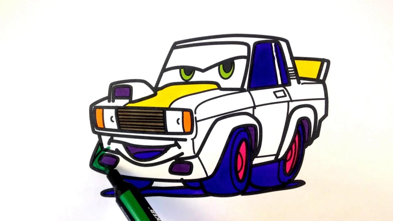1280x720 How To Draw A Car. Vaz 2105 Racing Car (Cartoon Cars 3 Style
