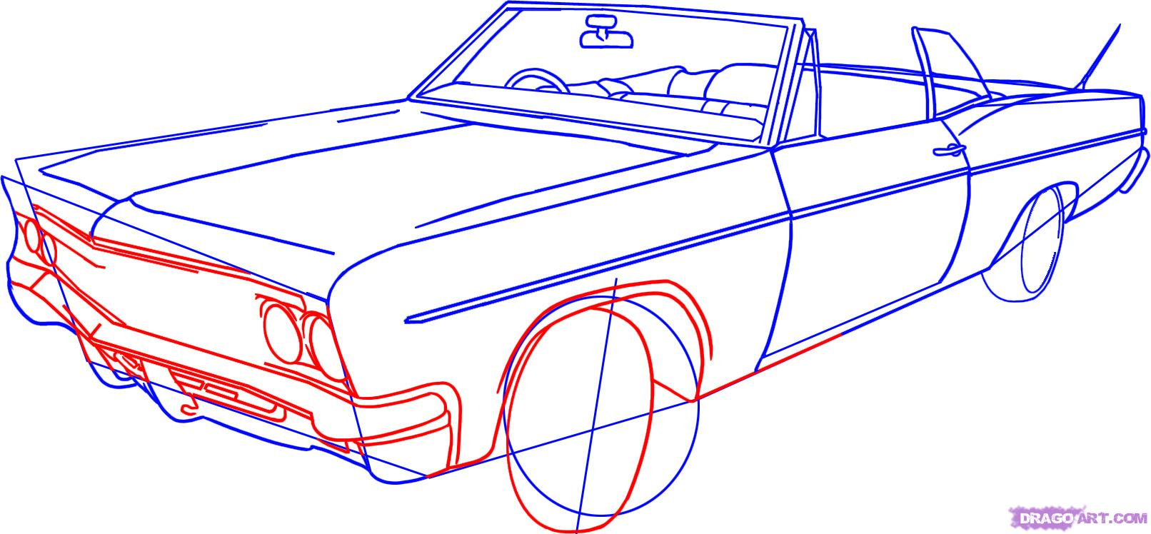 1612x748 How To Draw A Lowrider, Step By Step, Cars, Draw Cars Online
