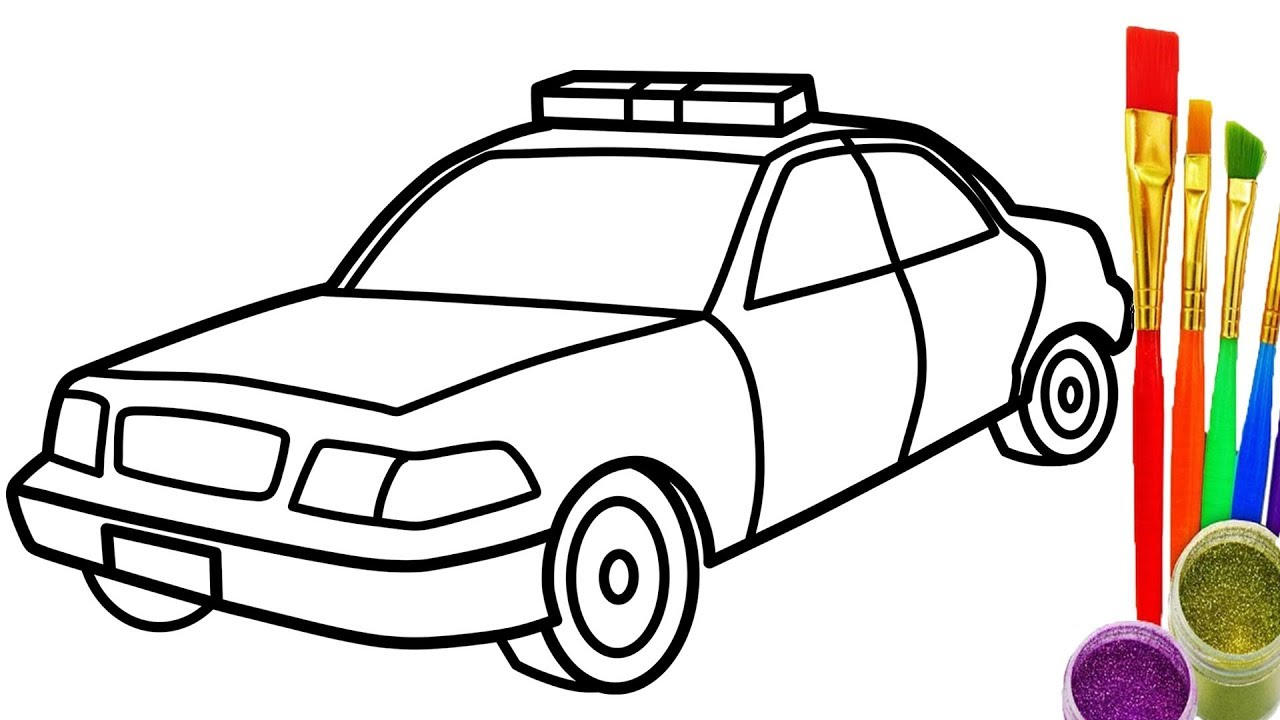 1280x720 How To Draw Police Car Coloring Page For Kids Learn Color With Car