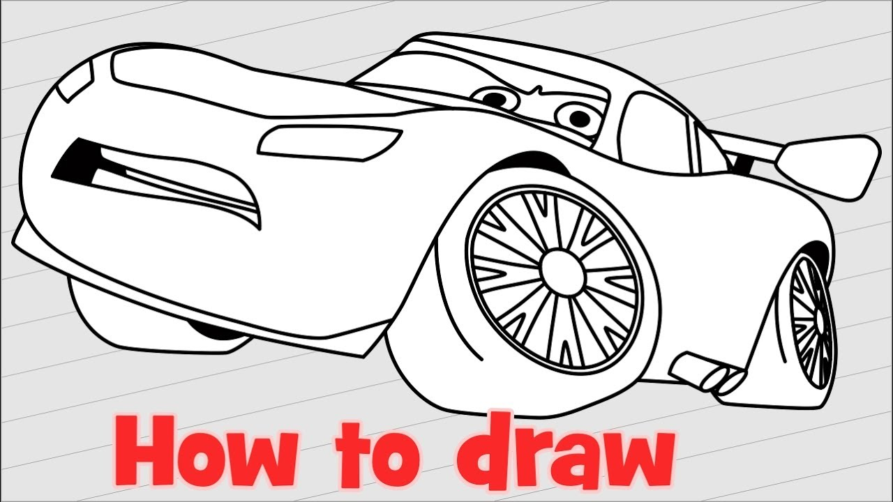 1280x720 How To Draw Lightning Mcqueen From Cars 3 Step By Step