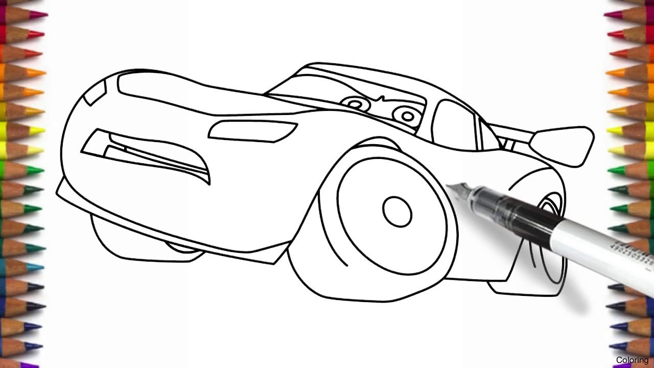 1280x720 Lightning Mcqueen From Cars 3 Coloring Page Draw Click The 2f