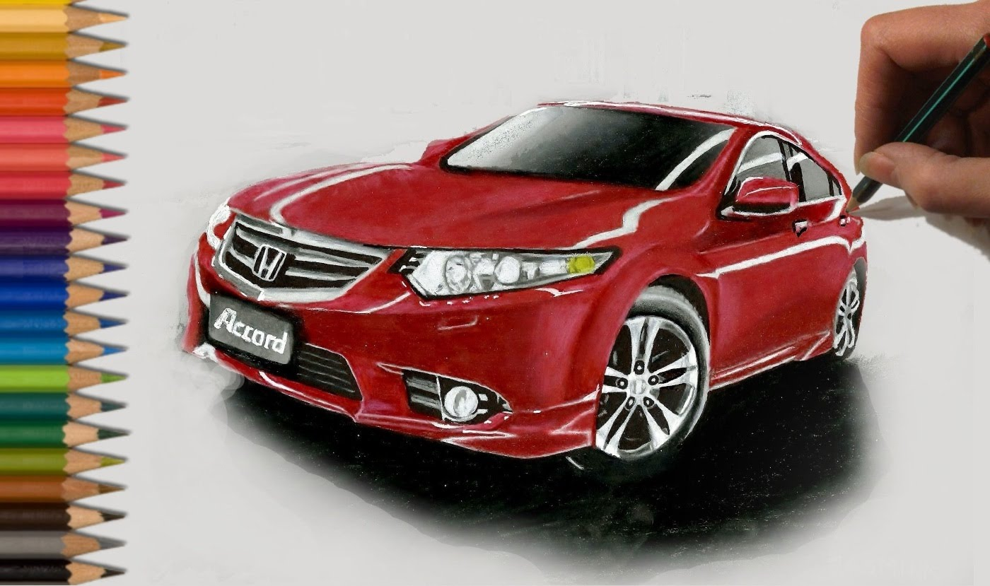 1400x829 Speed Drawing Red Honda Accord Car In Colored Pencil Jasmina
