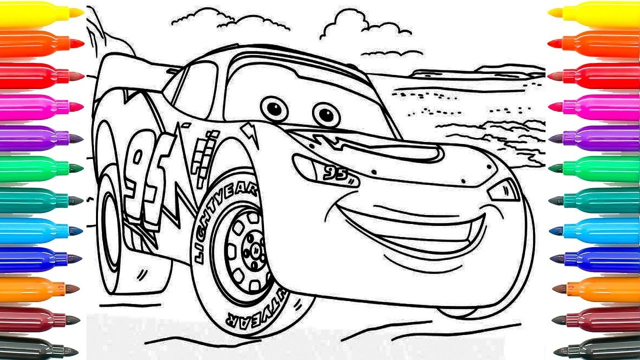 1280x720 How To Paint Lightning Mcqueen Cars 3 Learning Coloring Pages