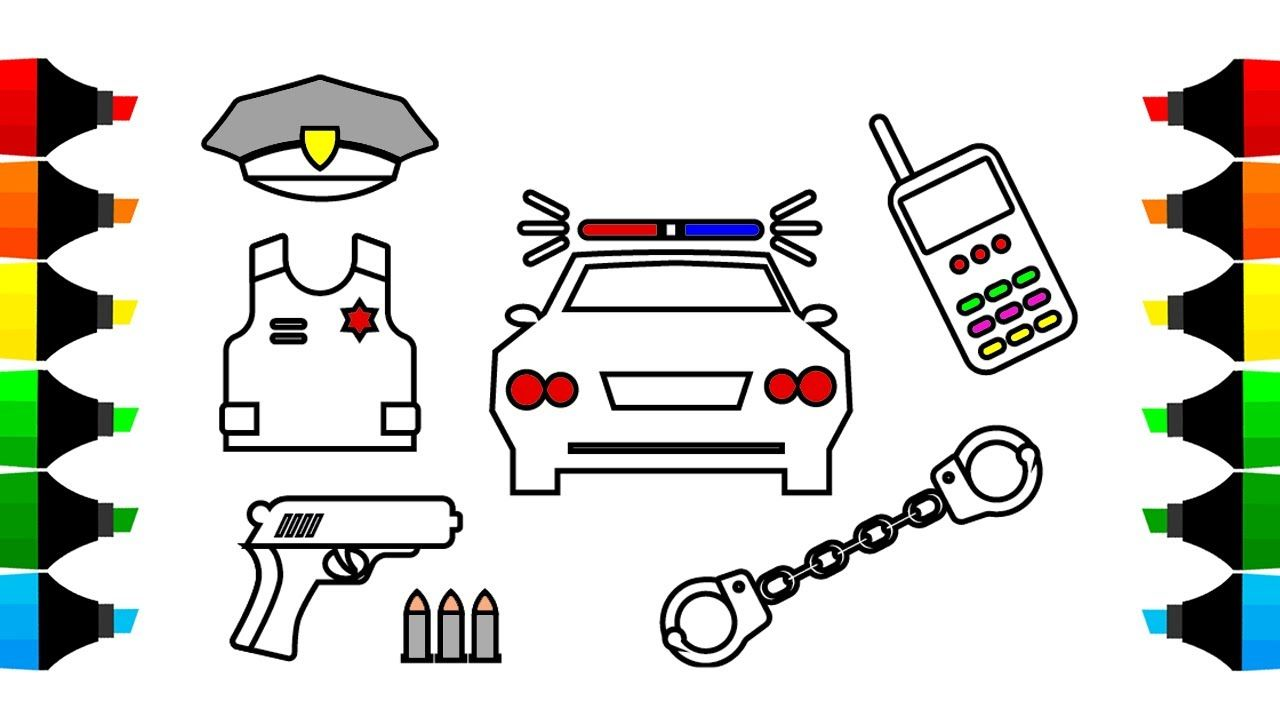 1280x720 How To Draw Car And Police Icons Coloring Pages, Drawing For Kids