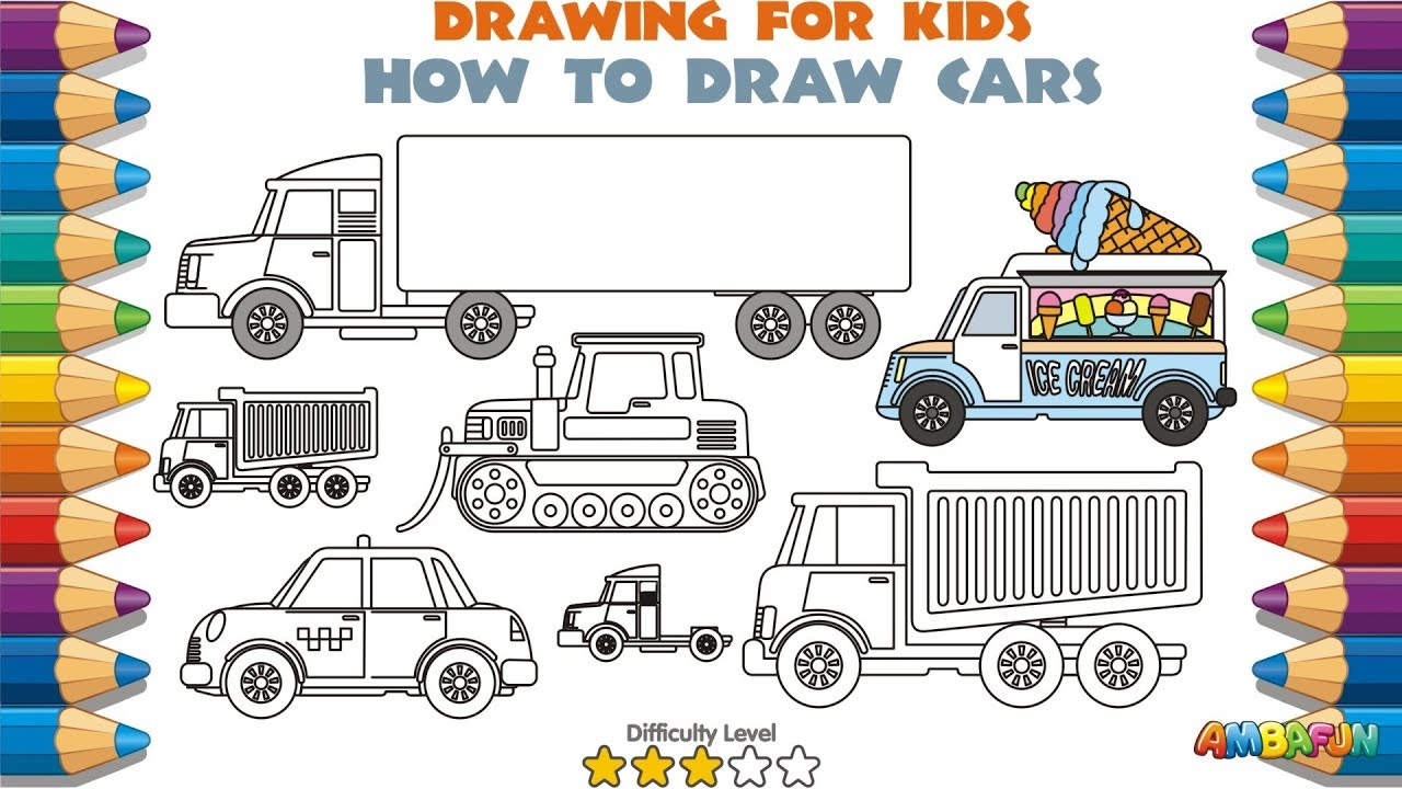 1280x720 Learn Cars For Kids. How To Draw For Kids. Coloring Pages