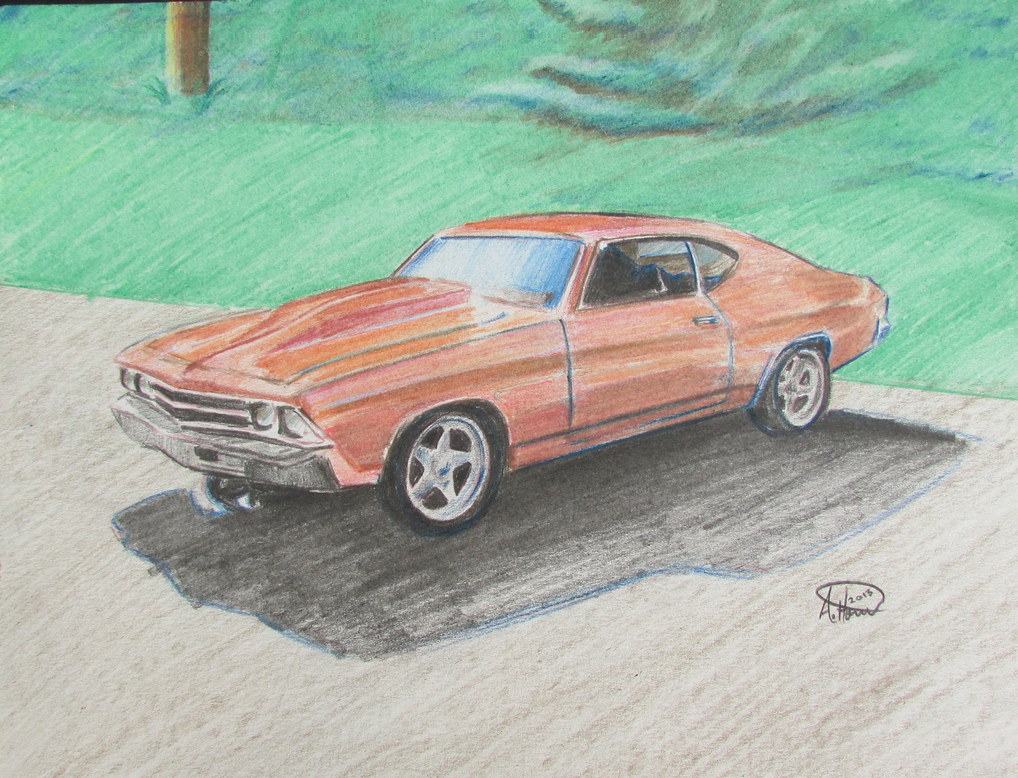 3391x2592 1969 Chevelle Colored Pencil Drawing. Andrew Horvath