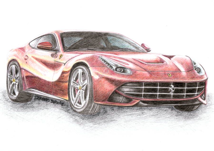 900x637 ferrari f12 berlinetta colored pencil drawing by gd doreen bj on