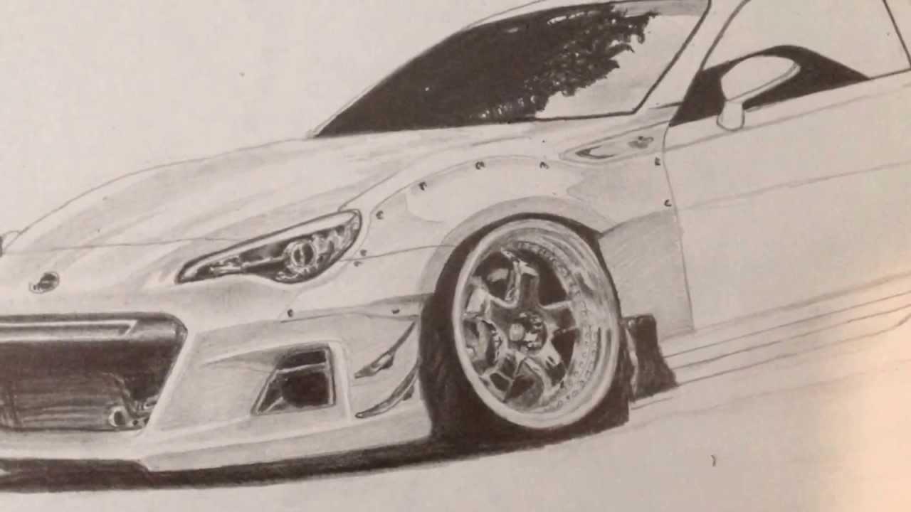 1280x720 Rocket Bunny Car Pencil Drawing