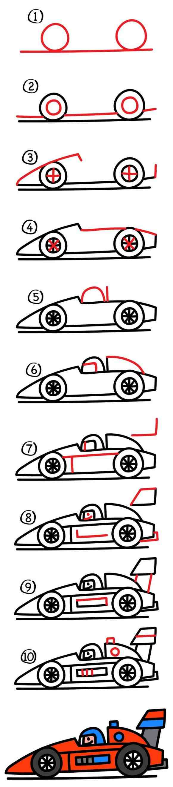 581x2635 Step By Step Drawing For Kids Cars