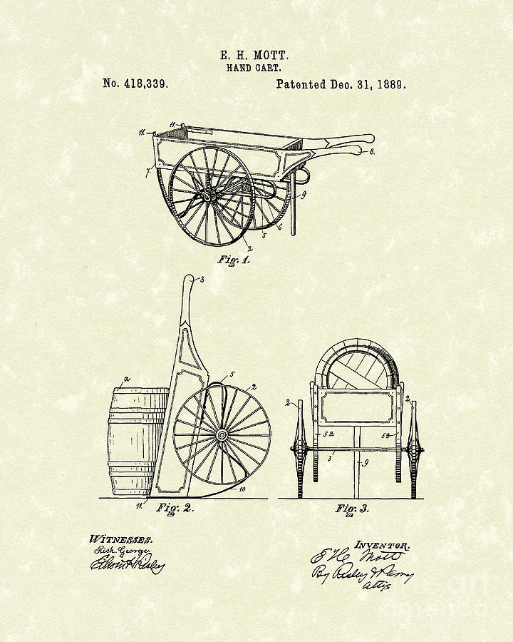 720x900 Hand Cart 1889 Patent Art Drawing By Prior Art Design