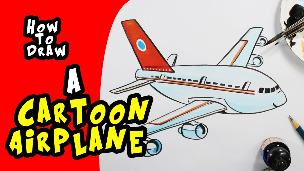 1280x720 How To Draw A Cartoon Airplane Step By Step Drawing For Kids