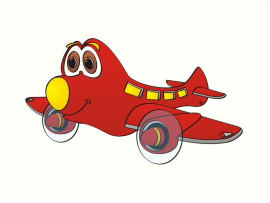 549x413 Red Yellow Nose Airplane Cartoon Art Prints By Graphxpro Redbubble