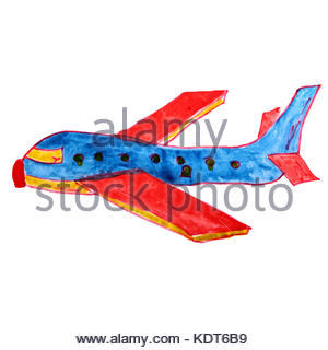 300x320 Drawing A Children Watercolor Airplane Cartoon Paper On A White