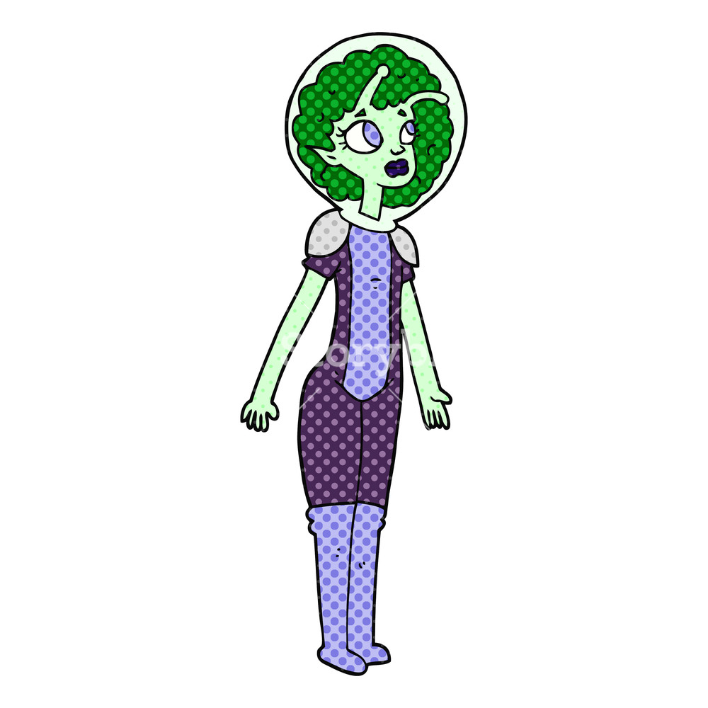1000x1000 Freehand Drawn Cartoon Alien Space Girl Royalty Free Stock Image