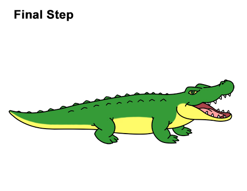 Cartoon alligator drawing at free for for Easy to draw crocodile