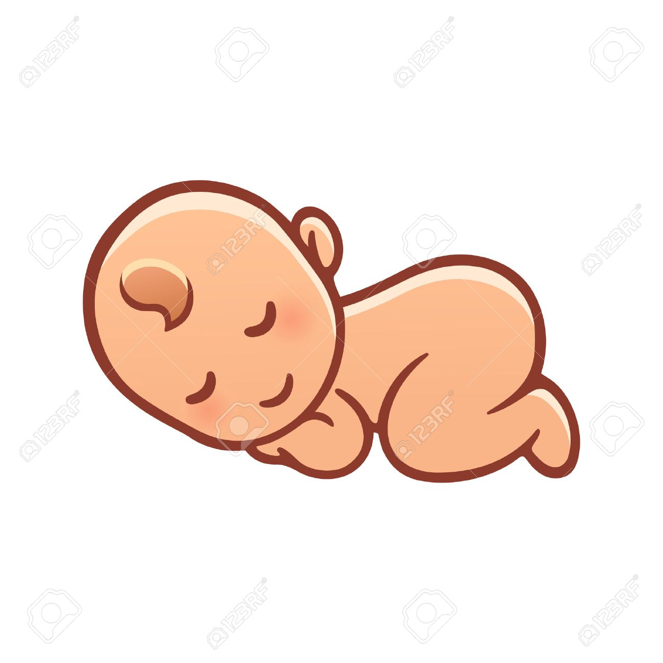 1300x1300 Cute Sleeping Baby Drawing. Simple Cartoon Vector Illustration