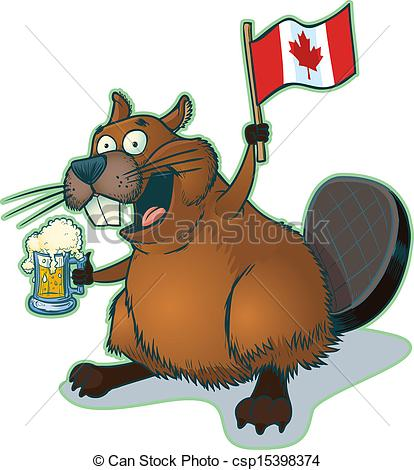 414x470 Beaver With Beer And Canadian Flag. Vector Cartoon Clip Art
