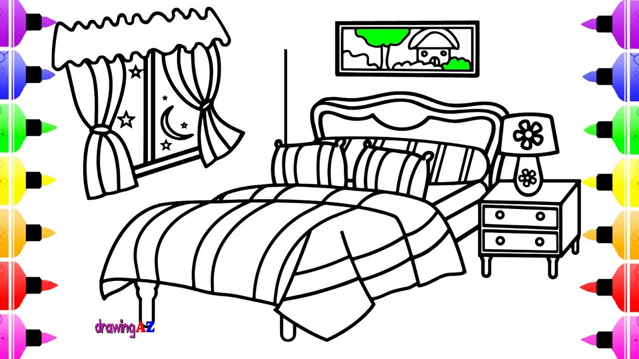1280x720 Bedroom Drawing And Coloring Pages For Girls Amp Art Colors For Kids