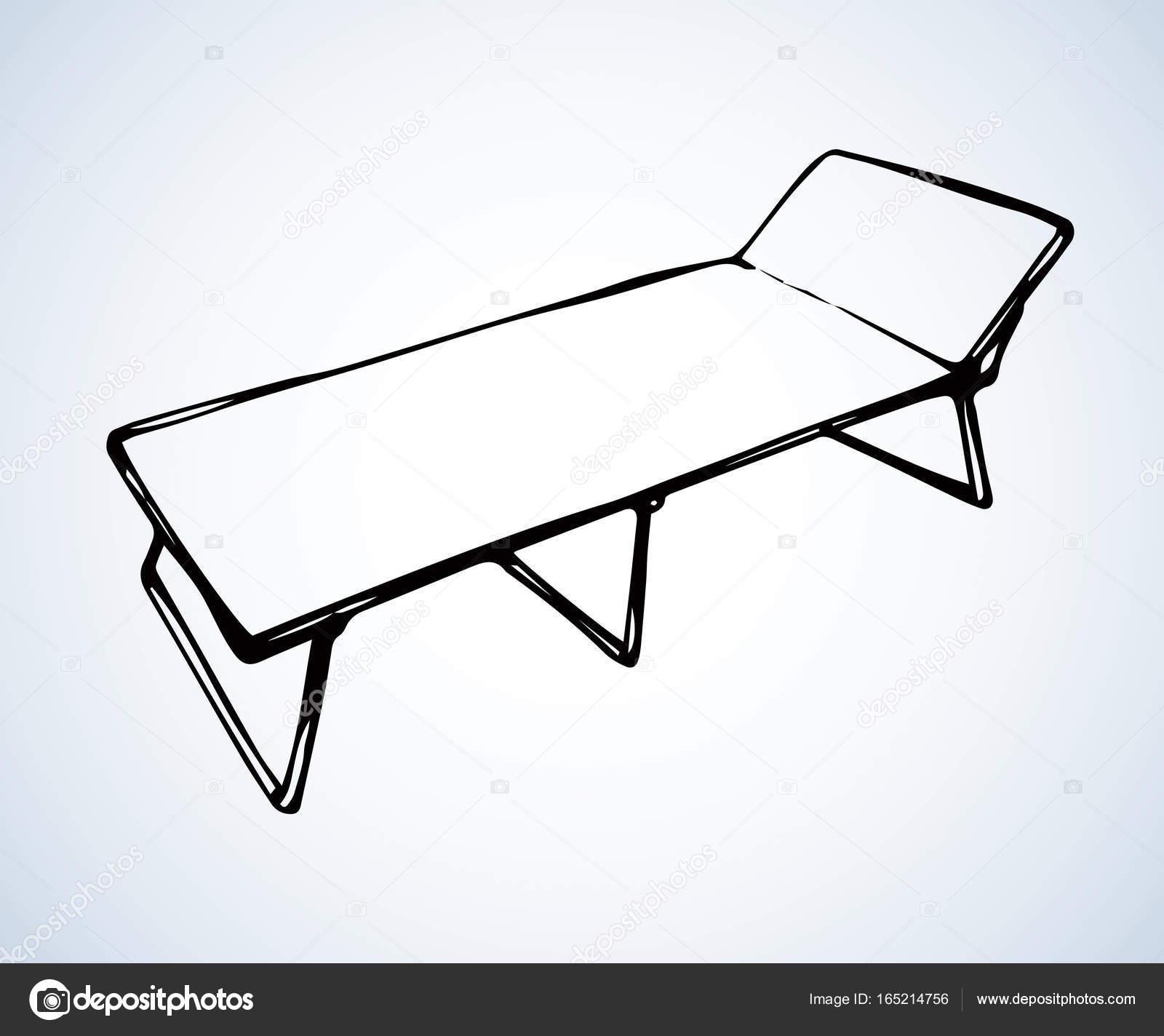 1600x1424 Camp Bed. Vector Drawing Stock Vector Marinka