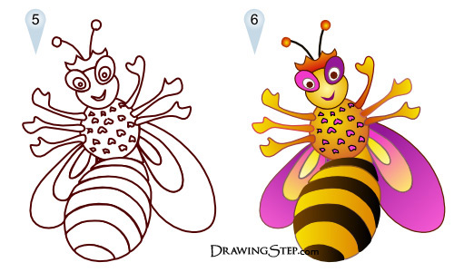 500x300 Bee Queen Drawing Step By Step