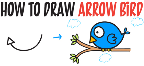 500x229 How to Draw Cute Cartoon Bird Illustration from Arrow Shape