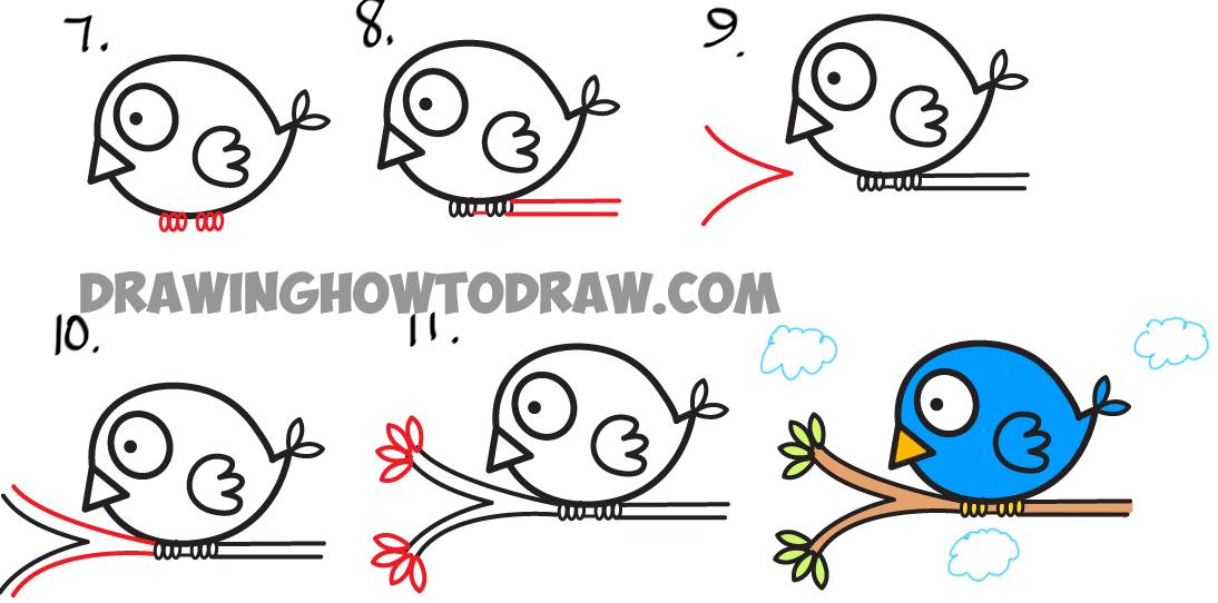 1094x542 How To Draw Cute Cartoon Bird Illustration From Arrow Shape