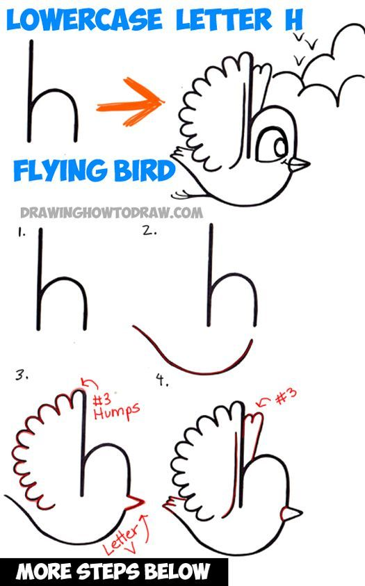 525x843 How To Draw A Flying Cartoon Bird From A Lowercase Letter H Shape
