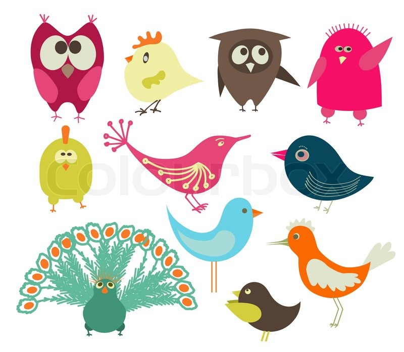 800x698 Set Of Cute Birds Drawing Stock Vector Colourbox
