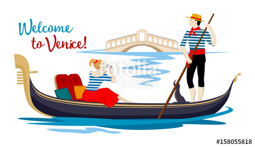 500x290 A Colorful Cartoon Drawing, Where A Young Gondolier In A Vest