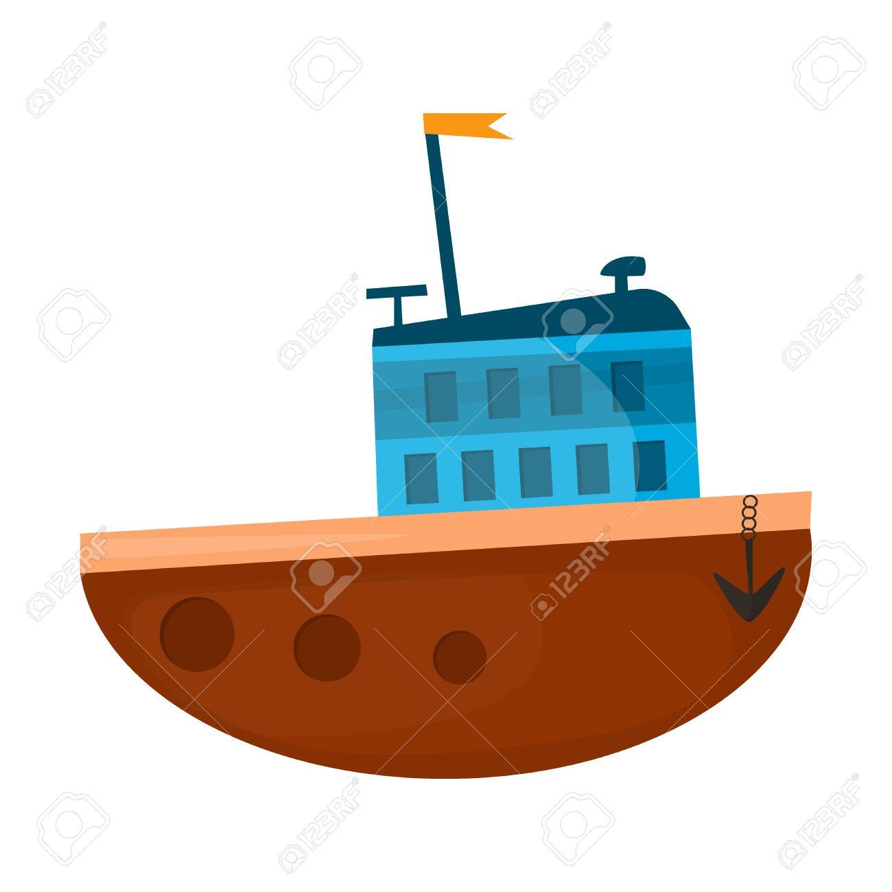 1300x1300 Cartoon Ship Illustration. Cartoon Boat Sea Vessel Transportation