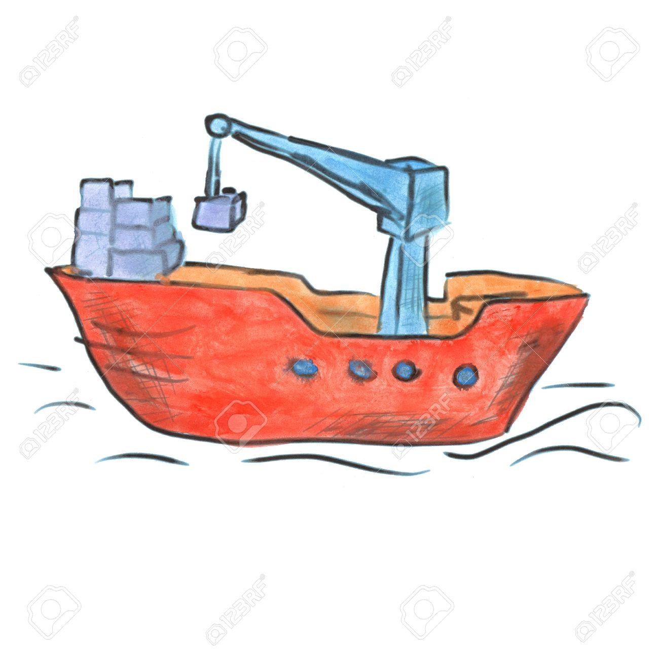 1300x1300 Red Cargo Boat Cartoon Watercolor Isolated Handmade Stock Photo