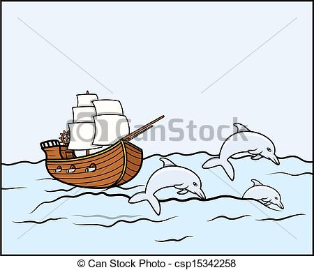 450x387 Ship With Dolphins In Sea