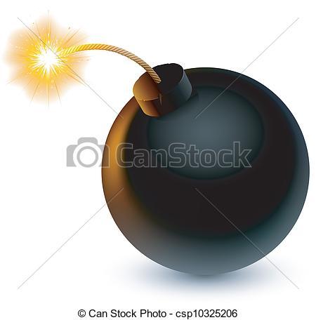 450x456 Bomb. Cartoon Bomb Ready To Explode. Vector Clipart