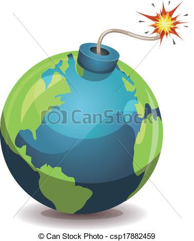 378x470 Earth Planet Warning Bomb. Illustration Of A Cartoon Earth