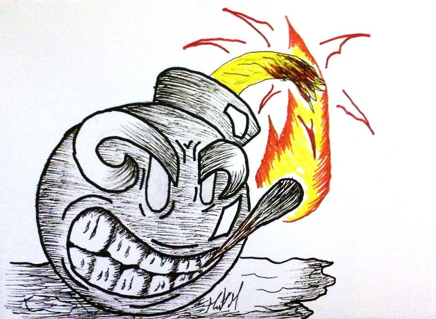 900x659 Ink Cartoon Bomb By Goggles51