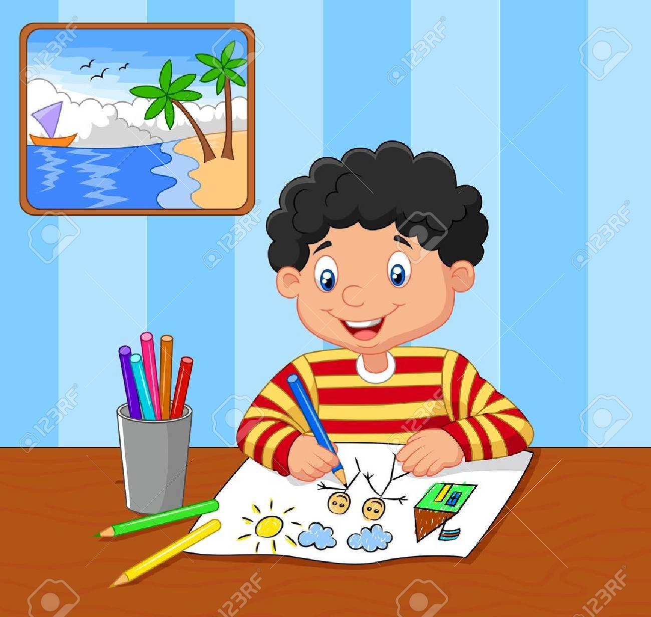 1300x1232 Cartoon Little Boy Drawing Royalty Free Cliparts, Vectors,