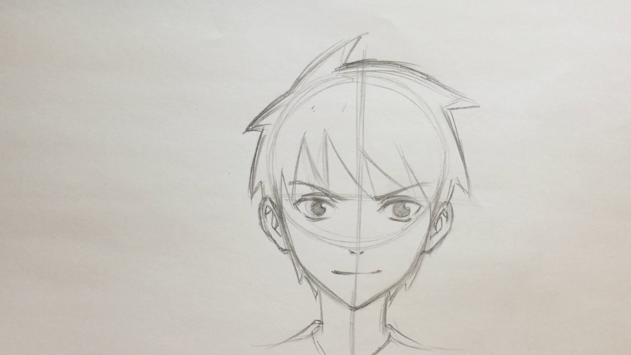 1280x720 How To Draw Anime Boy Face [No Timelapse]